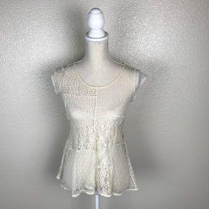 Arizona Jean Co Sheer Boho Patchwork Lace Top